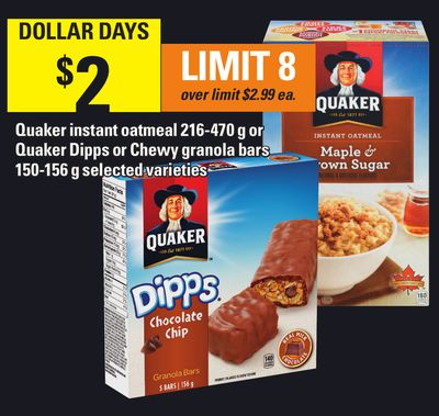 Quaker Instant Oatmeal 216-470 g Or Quaker Dipps Or Chewy Granola Bars 150-156 g