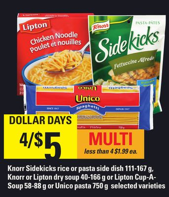 Knorr Sidekicks Rice Or Pasta Side Dish 111-167 G - Knorr Or Lipton Dry Soup 40-166 G Or Lipton Cup-a- Soup 58-88 G Or Unico Pasta 750 G