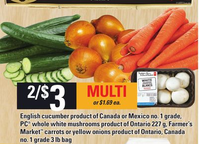 English Cucumber Product Of Canada Or Mexico No. 1 Grade - PC Whole White Mushrooms Product Of Ontario 227 G - Farmer's Market Carrots Or Yellow Onions Product Of Ontario - Canada No. 1 Grade 3 Lb Bag