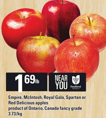 Empire - Mcintosh - Royal Gala - Spartan Or Red Delicious Apples