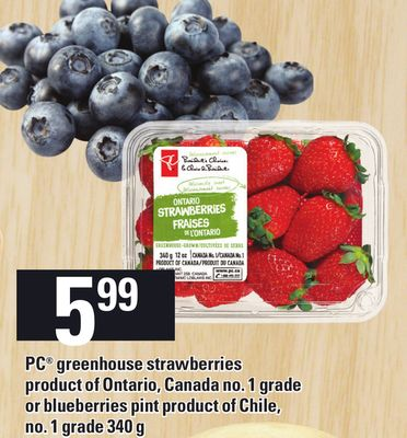PC Greenhouse Strawberries Or Blueberries Pint - 340 G