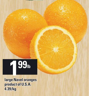 Large Navel Oranges Product Of U.S.A.