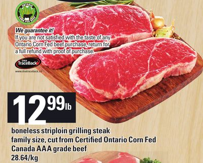 Boneless Striploin Grilling Steak Family Size