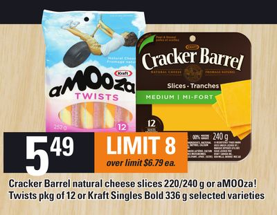 Cracker Barrel Natural Cheese Slices - 220/240 G Or Amooza! Twists - Pkg Of 12 Or Kraft Singles Bold - 336 G