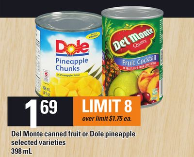 Del Monte Canned Fruit Or Dole Pineapple 398 Ml
