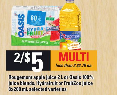 Rougemont Apple Juice 2 L Or Oasis 100% Juice Blends - Hydrafruit Or Fruitzoo Juice 8x200 Ml