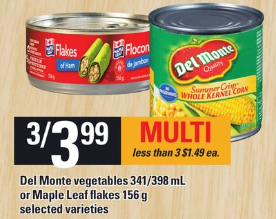Del Monte Vegetables 341/398 Ml Or Maple Leaf Flakes 156 G