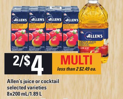 Allen's Juice Or Cocktail 8x200 Ml/1.89 L