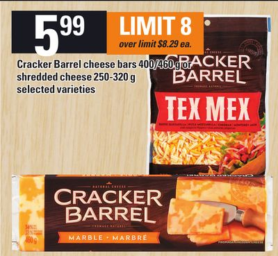 Cracker Barrel Cheese Bars 400/460 G Or Shredded Cheese 250-320 G