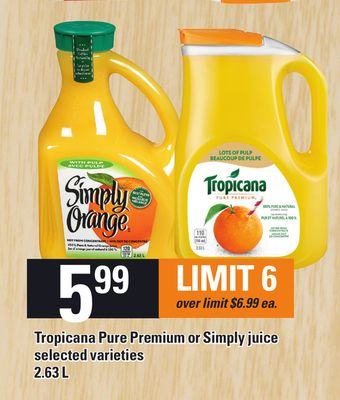 Tropicana Pure Premium Or Simply Juice 2.63 L