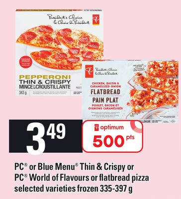 PC Or Blue Menu Thin & Crispy Or PC World Of Flavours Or Flatbread Pizza - 335-397 g