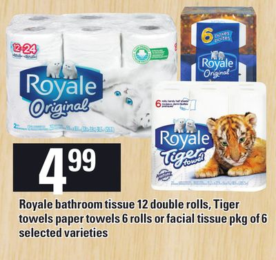 Royale Bathroom Tissue 12 Double Rolls - Tiger Towels Paper Towels 6 Rolls Or Facial Tissue Pkg Of 6