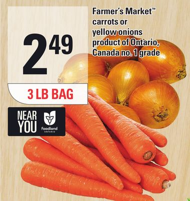 Farmer's Market Carrots Or Yellow Onions - 3 Lb Bag
