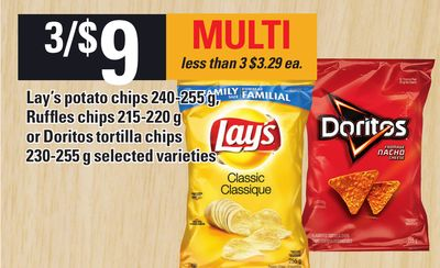 Lay's Potato Chips - 240-255 g - Ruffles Chips - 215-220 g Or Doritos Tortilla Chips - 230-255 g