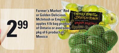 Farmer's Market Red or Golden Delicious - Mcintosh or Empire Apples 4 Lb Bag or Avocados Pkg of 6
