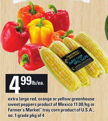 Extra Large Red - Orange Or Yellow Greenhouse Sweet Peppers Product Of Mexico Or Farmer's Market Tray Corn Product Of U.S.A. - No. 1 Grade Pkg Of 4