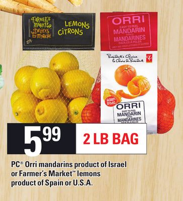 PC Orri Mandarins Product Of Israel Or Farmer's Market Lemons