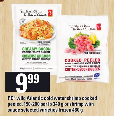 PC Wild Atlantic Cold Water Shrimp Cooked Peeled - 150-200 Per Lb 340 g Or Shrimp With Sauce - 480 g