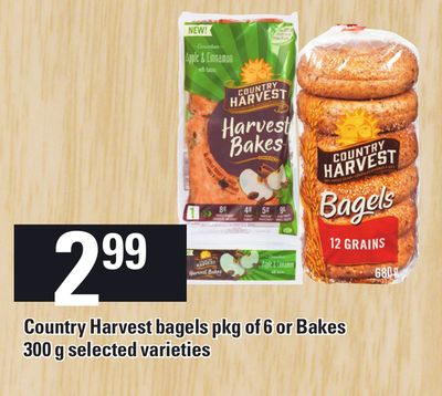Country Harvest Bagels Pkg Of 6 Or Bakes 300 G