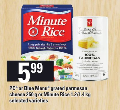 PC Or Blue Menu Grated Parmesan Cheese 250 g Or Minute Rice