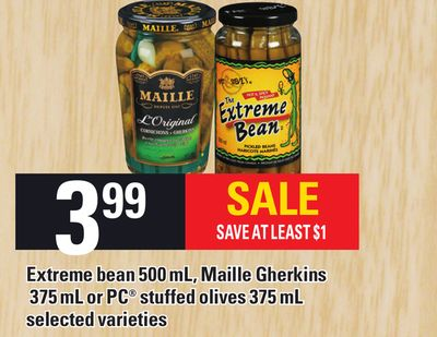 Extreme Bean 500 Ml - Maille Gherkins 375 Ml Or PC Stuffed Olives 375 Ml