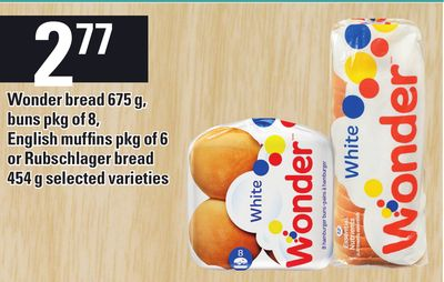 Wonder Bread 675 g - Buns Pkg Of 8 - English Muffins Pkg Of 6 Or Rubschlager Bread 454 g