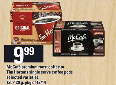 Mccafé Premium Roast Coffee Or Tim Hortons Single Serve Coffee PODS - 120-129 G - Pkg Of 12/14