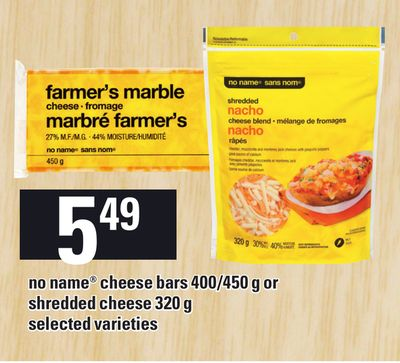 No Name Cheese Bars 400/450 g Or Shredded Cheese 320 g