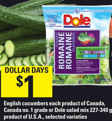 English Cucumbers Each Product Of Canada - Canada No. 1 Grade Or Dole Salad Mix 227-340 G
