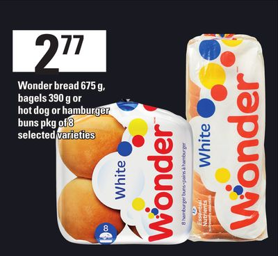 Wonder Bread 675 G - Bagels 390 G Or Hot Dog Or Hamburger Buns - Pkg Of 8