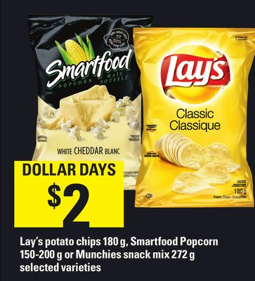 Lay's Potato Chips 180 g - Smartfood Popcorn 150-200 g Or Munchies Snack Mix 272 g