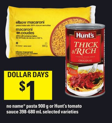 No Name Pasta 900 g Or Hunt's Tomato Sauce - 398-680 ml