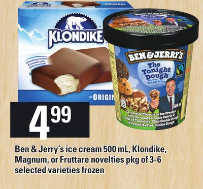Ben & Jerry's Ice Cream 500 ml - Klondike - Magnum - Or Fruttare Novelties Pkg of 3-6