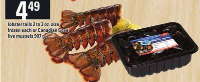 Lobster Tails 2 To 3 Oz. Size Frozen Each Or Canadian Cove Live Mussels 907 g