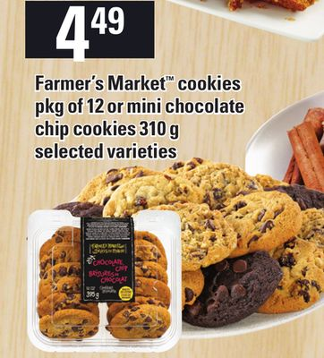 Farmer's Market Cookies Pkg Of 12 Or Mini Chocolate Chip Cookies 310 g