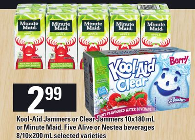 Kool-aid Jammers Or Clear Jammers 10x180 Ml Or Minute Maid - Five Alive Or Nestea Beverages 8/10x200 mL
