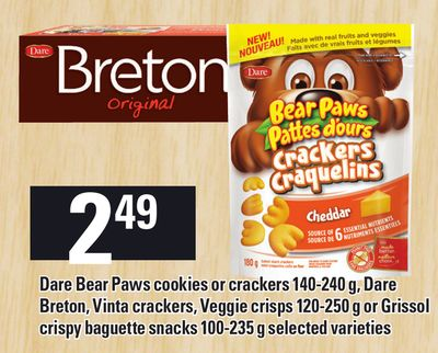Dare Bear Paws Cookies Or Crackers 140-240 g - Dare Breton - Vinta Crackers - Veggie Crisps 120-250 g Or Grissol Crispy Baguette Snacks 100-235 g