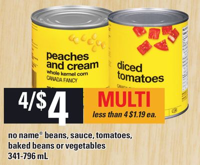 No Name Beans - Sauce - Tomatoes - Baked Beans Or Vegetables - 341-796 mL