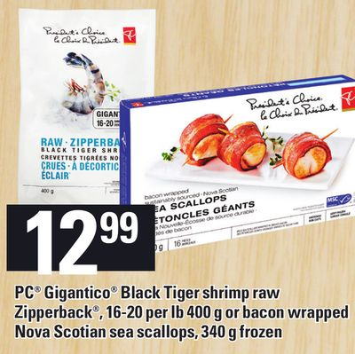 PC Gigantico Black Tiger Shrimp Raw Zipperback - 16-20 Per Lb 400 G Or Bacon Wrapped Nova Scotian Sea Scallops - 340 G