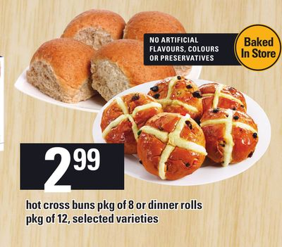 Hot Cross Buns Pkg Of 8 Or Dinner Rolls - Pkg Of 12