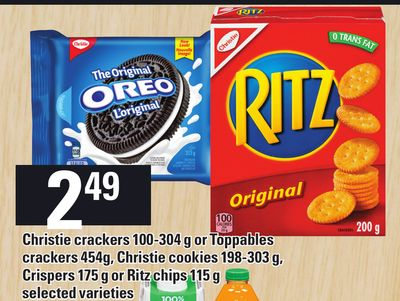 Christie Crackers 100-304 g Or Toppables Crackers 454 g - Christie Cookies 198-303 g - Crispers 175 g Or Ritz Chips 115 g