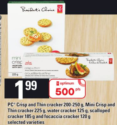 PC Crisp And Thin Cracker 200-250 g - Mini Crisp And Thin Cracker 225 g - Water Cracker 125 g - Scalloped Cracker 185 g And Focaccia Cracker 120 g