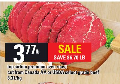 Top Sirloin Premium Oven Roast Cut From Canada Aa or Usda Select Grade Beef