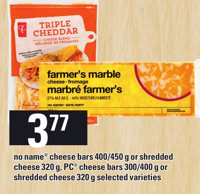 No Name Cheese Bars 400/450 G Or Shredded Cheese 320 G - PC Cheese Bars 300/400 G Or Shredded Cheese 320 G