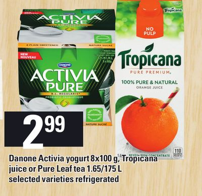 Danone Activia Yogurt 8x100 G - Tropicana Juice Or Pure Leaf Tea 1.65/175 L Refrigerated