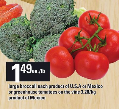 Large Broccoli Each Product Of U.s.a Or Mexico Or Greenhouse Tomatoes On The Vine