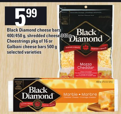 Black Diamond Cheese Bars 400/450 G - Shredded Cheese 340 G - Cheestrings Pkg Of 16 Or Galbani Cheese Bars 500 G
