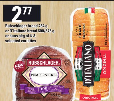 Rubschlager Bread 454 G Or D'italiano Bread 600/675 G Or Buns Pkg Of 4-8