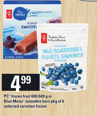 PC Frozen Fruit 400/600 g Or Blue Menu Smoothie Bars - Pkg of 6