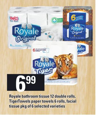 Royale Bathroom Tissue 12 Double Rolls - Tigertowels Paper Towels 6 Rolls - Facial Tissue - Pkg of 6